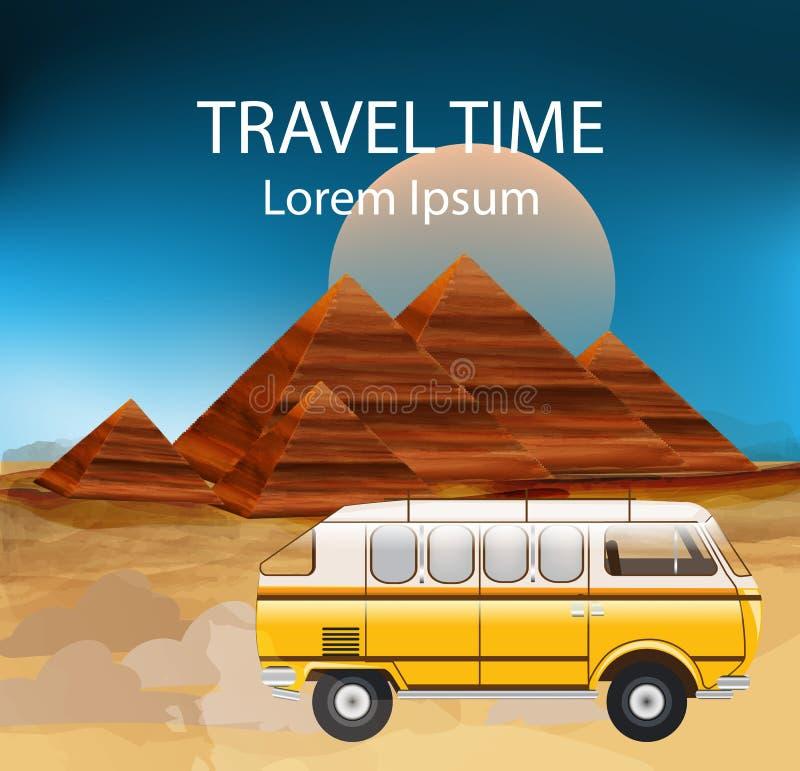 Egipt lata podróży autobusu wektor Campingowa przyczepa, Egypt ostrosłupy ilustracja wektor