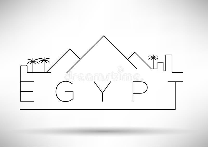 Egipt miasta linii sylwetki Typograficzny projekt ilustracji