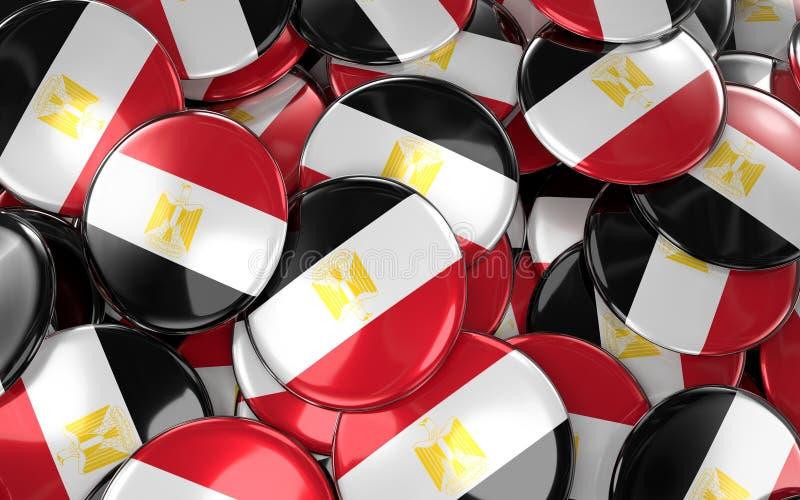 Egipt odznak tło - stos egipcjanin flaga guziki ilustracji