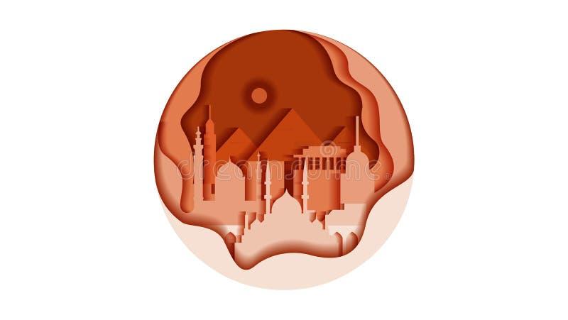 Egipt okręgu ikony mieszkania stylu architektury budynków zabytków miasta kraju grodzka podróż drukował materiały royalty ilustracja