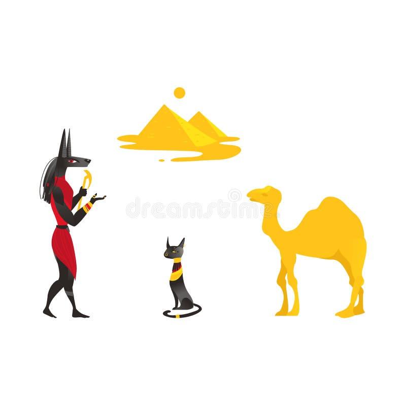 Egipt symbole - Anubis, czarny kot, wielbłąd, ostrosłupy ilustracja wektor