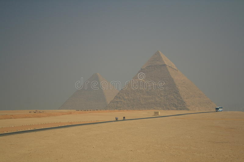 Egiptian pyramid. On the giza's valley royalty free stock photo