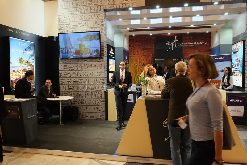 Egiptian Tourism Authority at TT Warsaw 2017. WARSAW - NOVEMBER 23: Egiptian Tourism Authority at the Travel Trade Fair `TT Warsaw` exhibition at Palace of royalty free stock photography