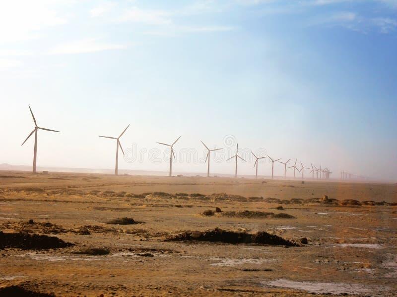 Egipto, África del Norte, campo con las turbinas de viento fotografía de archivo