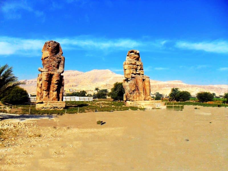 Egipto, África del Norte, colosos de Memnon fotografía de archivo libre de regalías