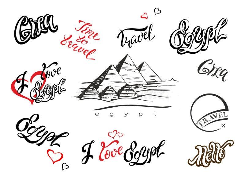 Egipto Conjunto de los elementos para el diseño giza Bosquejo de la pirámide Gráfico de la mano Letras inspiradoras modelos Viaje libre illustration