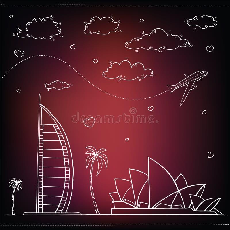 Download Egipto Fondo Dibujado Mano Del Viaje Y Del Turismo Ilustración del Vector - Ilustración de configuración, vuelo: 42425171