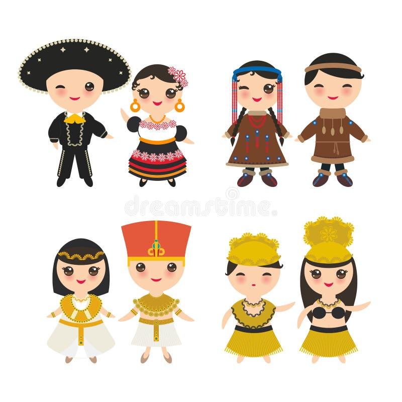 Egipto mexicano, antiguo, bailarín hawaiano de Hula, esquimales de Chukcha, muchacho y muchacha yakutos en traje y sombrero nacio stock de ilustración