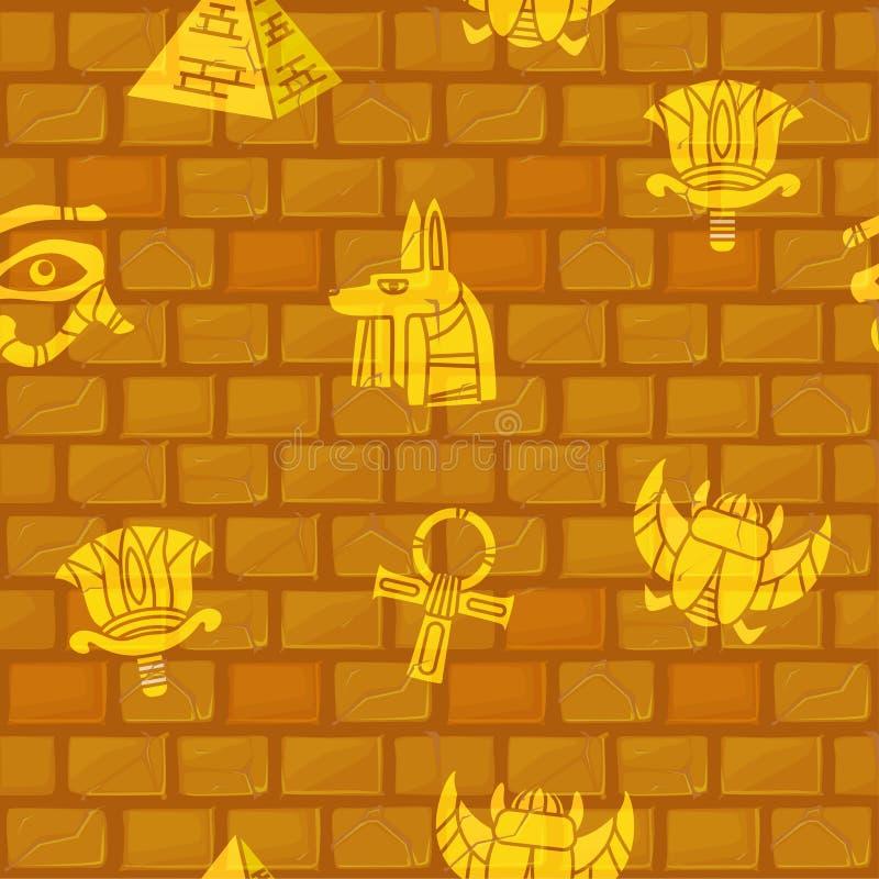 Egipto Modelos inconsútiles de la cultura egipcia antigua en la pared de piedra stock de ilustración