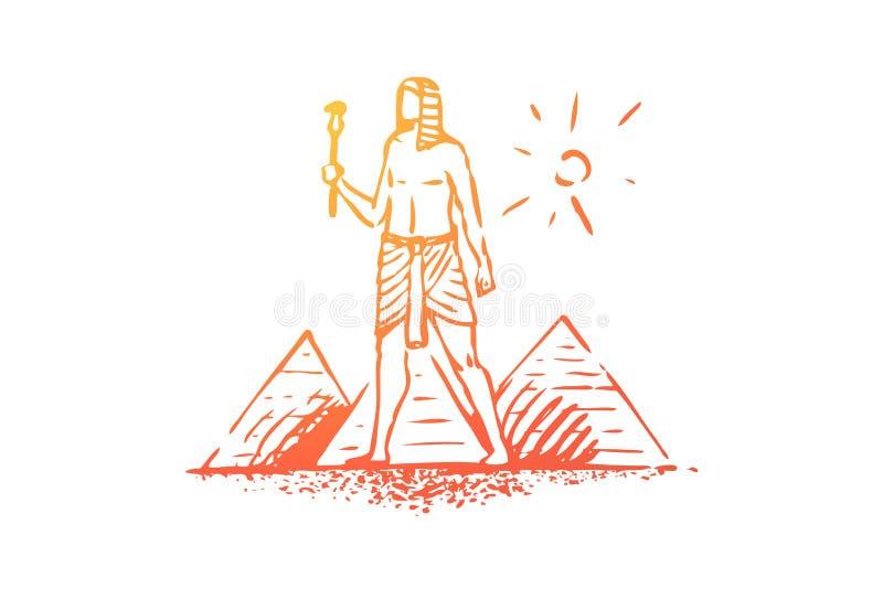 Egipto, pirámide, esfinge, antigua, concepto del desierto Vector aislado dibujado mano libre illustration
