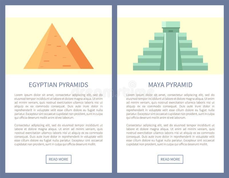Egito e Maya Pyramids em bandeiras do curso do Promo ilustração stock
