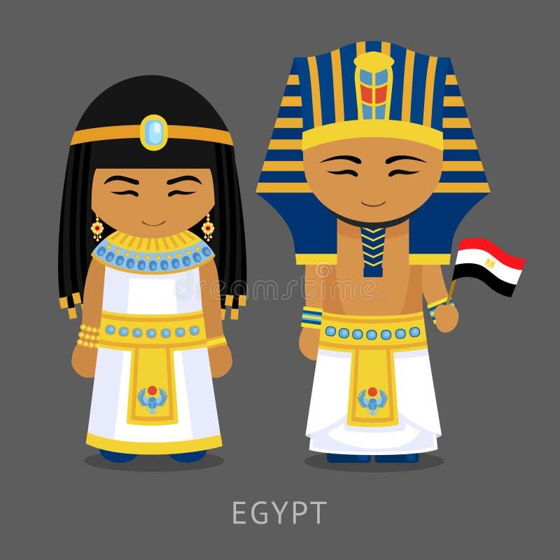 Egiziani in vestito nazionale con una bandiera illustrazione di stock