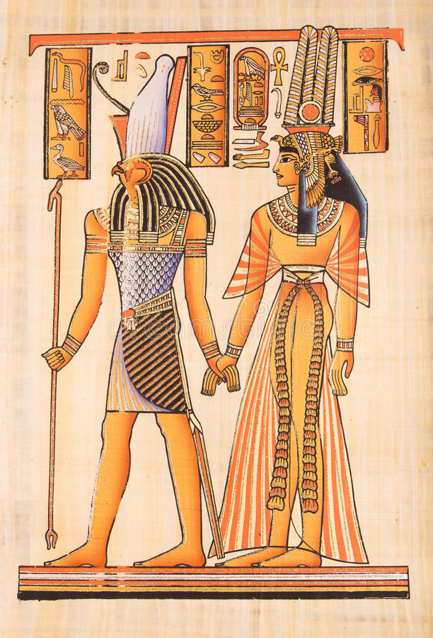 Egiziano Dio Horus sul papiro fotografia stock libera da diritti