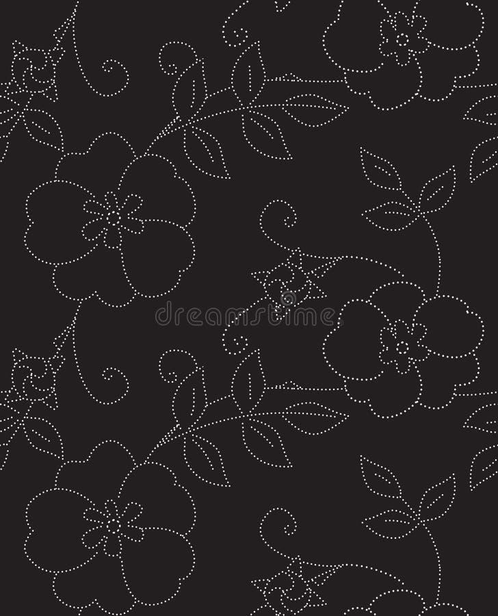 Eglantine Black en Wit Naadloos Vectorpatroon vector illustratie