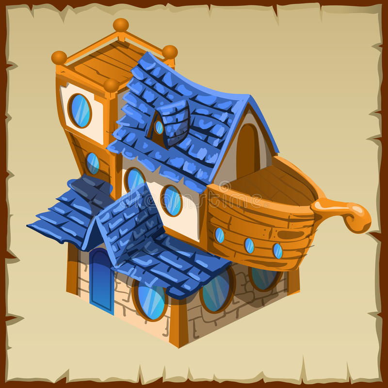 Żeglarz buda w postaci starego drewnianego statku ilustracji