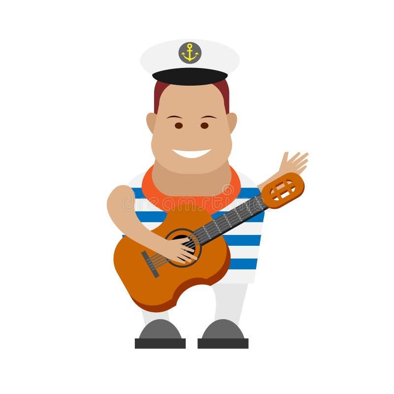 Żeglarz z gitarą ilustracja wektor