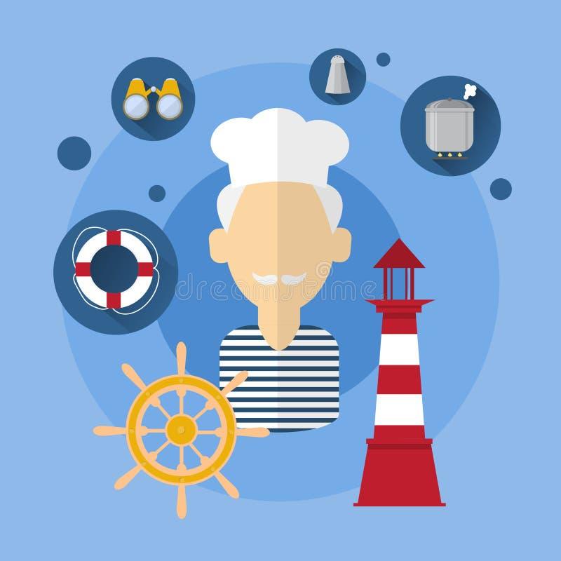 Żeglarza mężczyzna Cook statku załoga ikona ilustracji