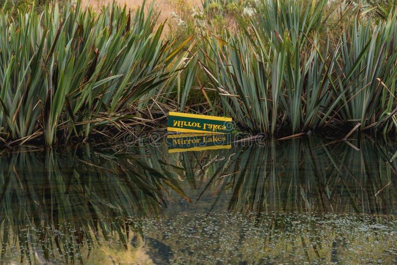 Eglintonvallei, spiegelmeren langs de manier van milfordweg, Nieuw Zeeland stock foto