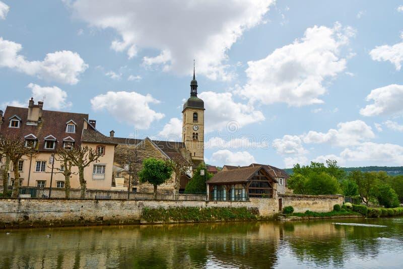 Eglise圣洛朗Ornans杜省法国 库存图片