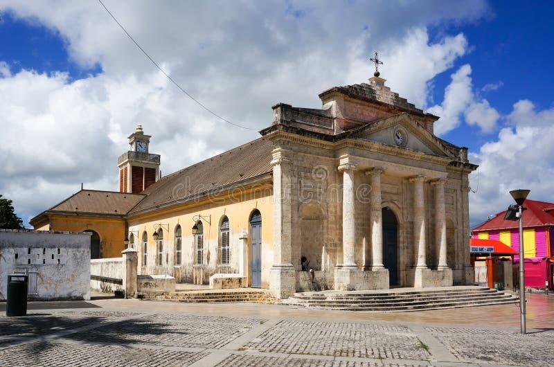 Eglise heilige-Jean Baptiste in Le Moule, Guadeloupe stock afbeeldingen
