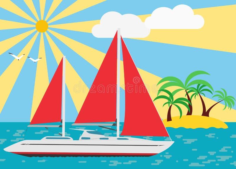 Żeglować w lecie ilustracja wektor