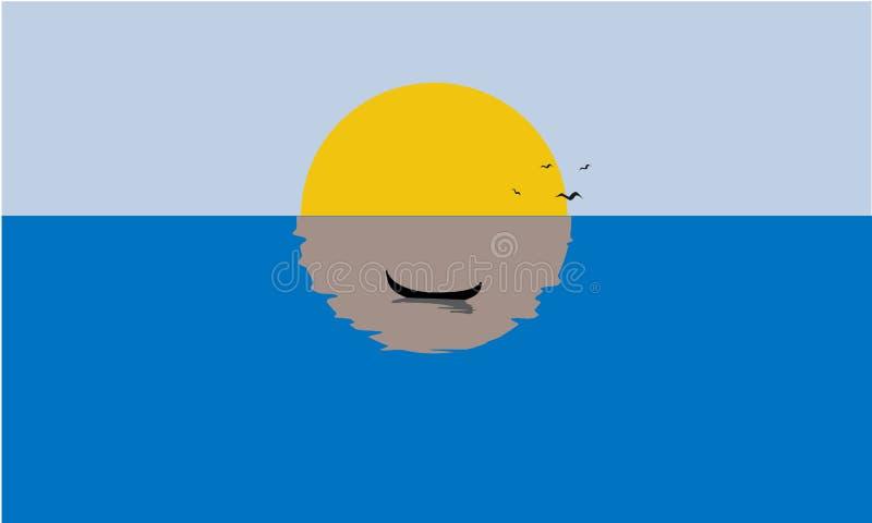 Żeglowanie łódź, Mglisty zmierzch, odbicie na wodzie Bryła, płaski kolor royalty ilustracja