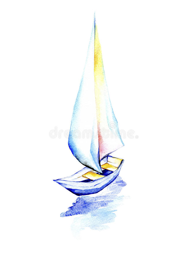 Żeglowanie łódź na białym tle royalty ilustracja