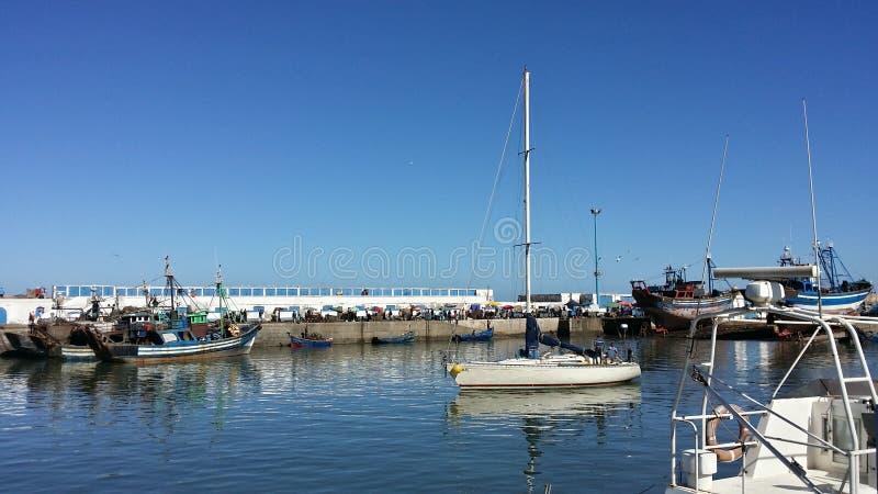 Żeglowanie łódź przy Essaouria portem, Maroko fotografia royalty free