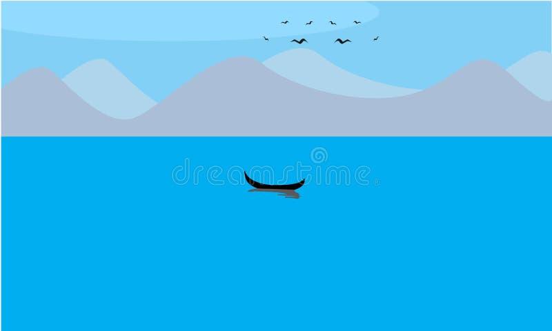 Żeglowanie łódź w jeziorze z górami i ptakami royalty ilustracja