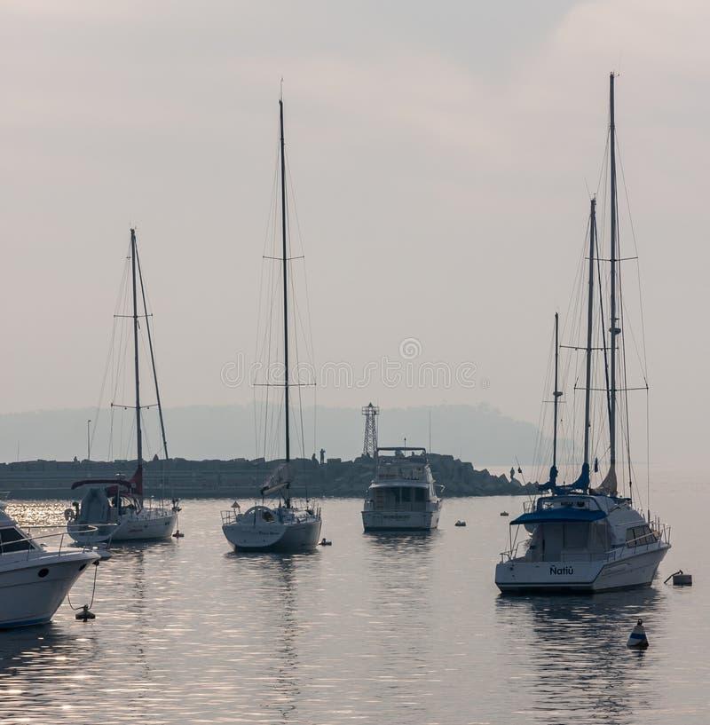 Żeglowanie łodzi Marina Punta Del Este Urugwaj obraz royalty free