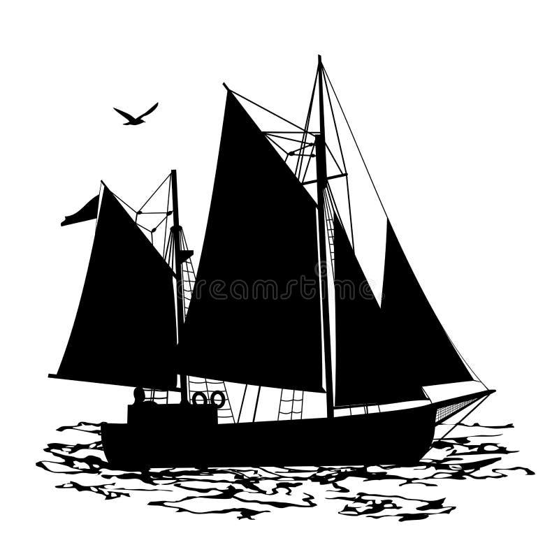 Żeglowanie łodzi sylwetki widok od strony ilustracja wektor