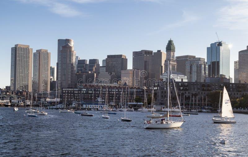 Żeglowanie łodzie Boston Massachusetts zdjęcia royalty free