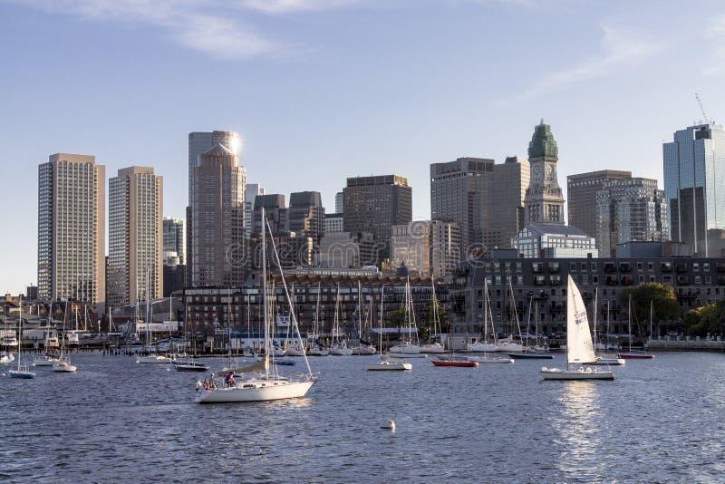 Żeglowanie łodzie Boston Massachusetts zdjęcie stock