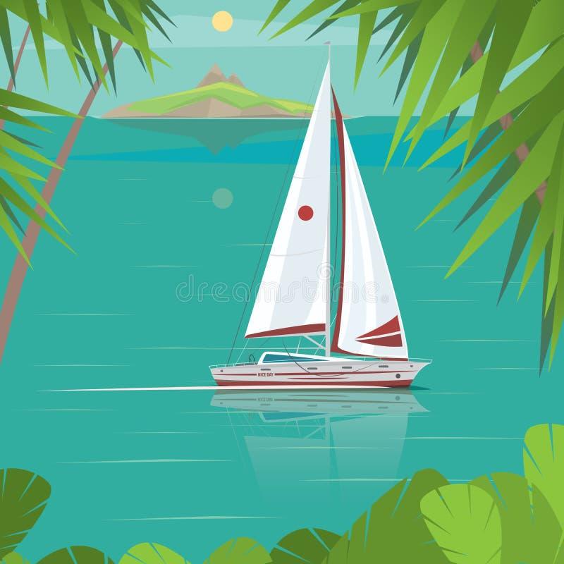Żeglowanie jacht na słonecznego dnia żeglowaniu za wyspami ilustracji