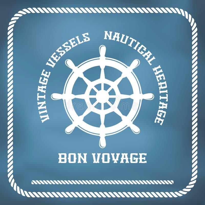Żeglowanie odznaka z statku kołem royalty ilustracja