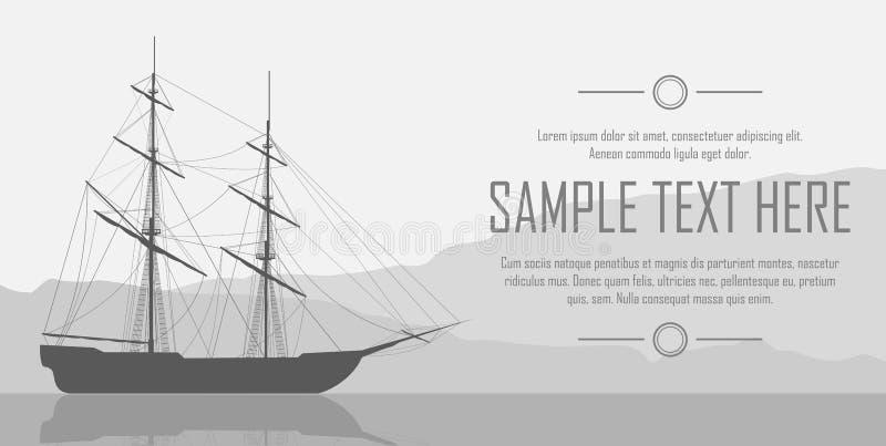 Żeglowanie statek nad ogromnymi górami royalty ilustracja