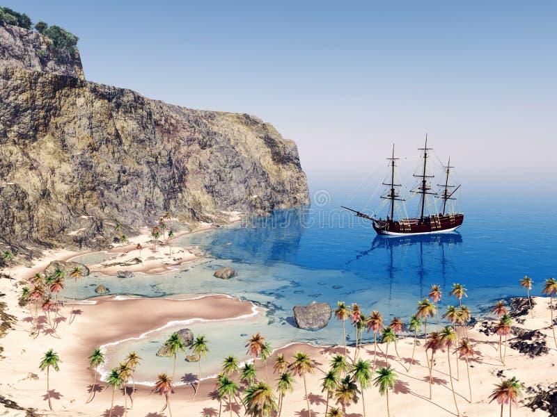 Żeglowanie statek przy kotwicą ilustracja wektor