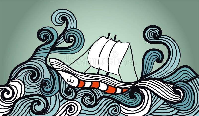 Żeglowanie statek w burza oceanie ilustracja wektor