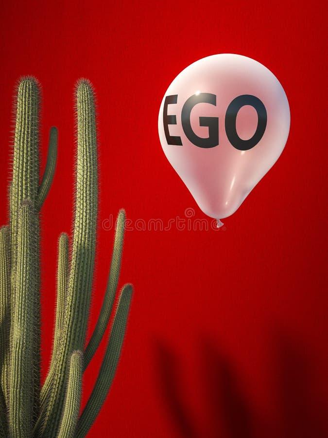 Ego balloon and catus stock illustration