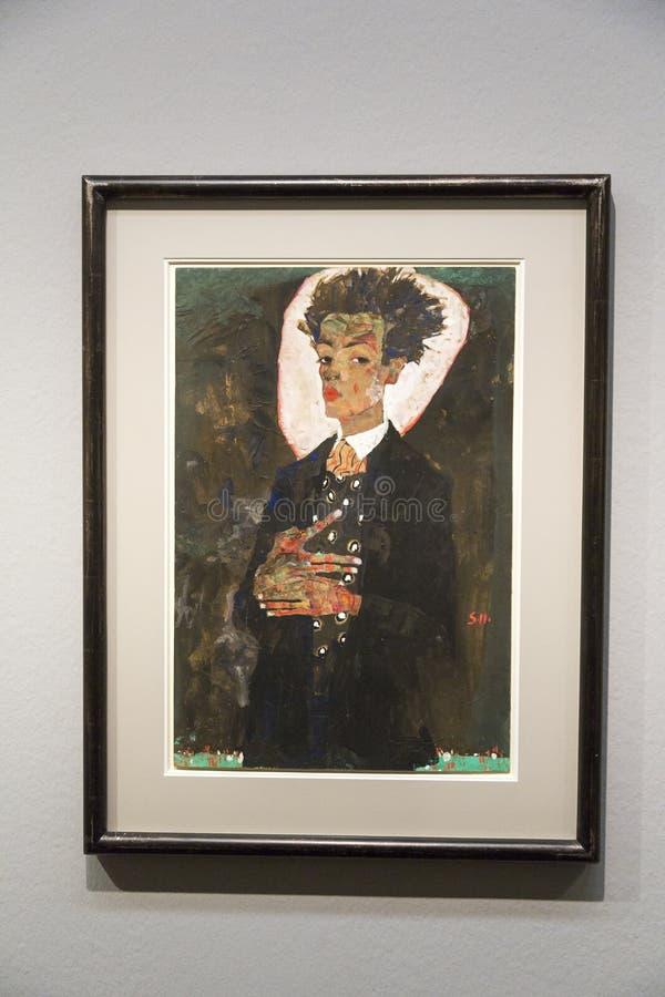 Egon Schiele - på Albertina Museum, Wien royaltyfri bild