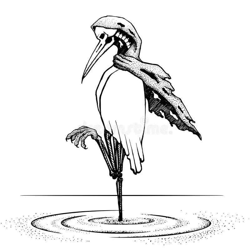 Egret bird stand alone on the water. illustration vector. hand d. Rawing. egret bird has die waiting. long time. line art tattoo design. bone skull bird. scary vector illustration