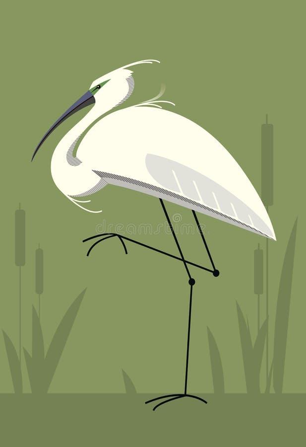 Egretta, immagine minimalistic illustrazione di stock
