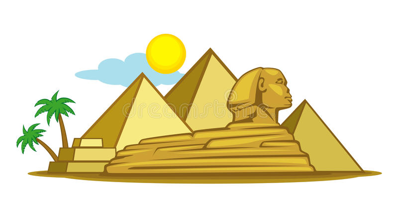 Egypt. Ian landscape, view of the pyramids and the Sphinx
