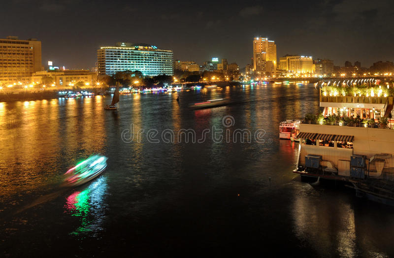 Egypt. Night shot of the Nile. Cairo, Egypt stock images