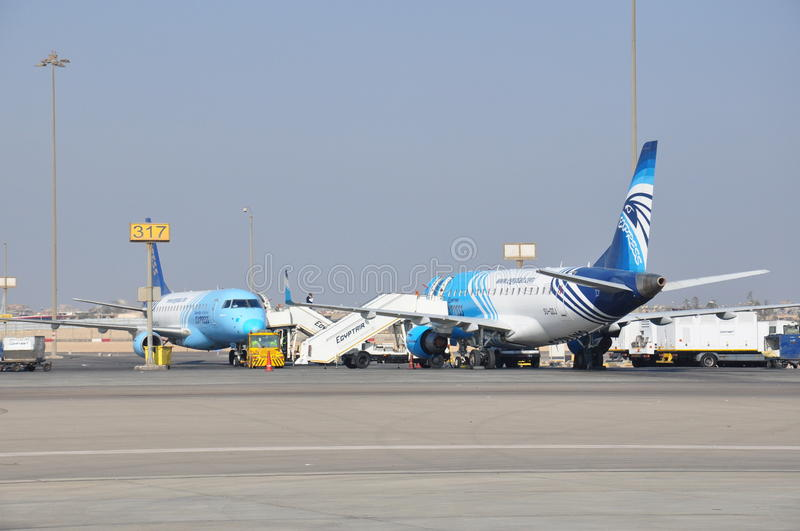 Egypt Air airplanes in airport. Egypt Air airplanes in Cairo Internaional Airport royalty free stock photo