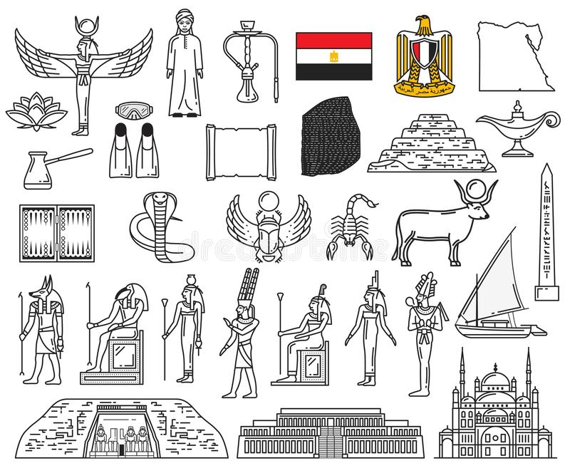 Egyptian gods, landmarks and religion symbols. Egypt ancient gods and religion symbol icons. Vector deities, Anubis, Ankh, Horus eye, flag and Sphinx. Pharaoh stock illustration