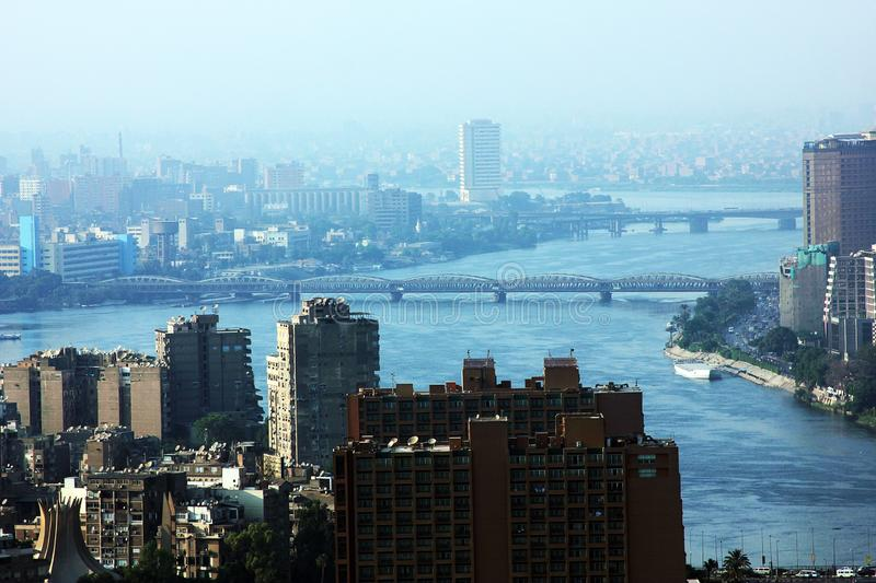 Egypt cairo nile view. High view of cairo downtown with nile in egypt from cairo tower stock image