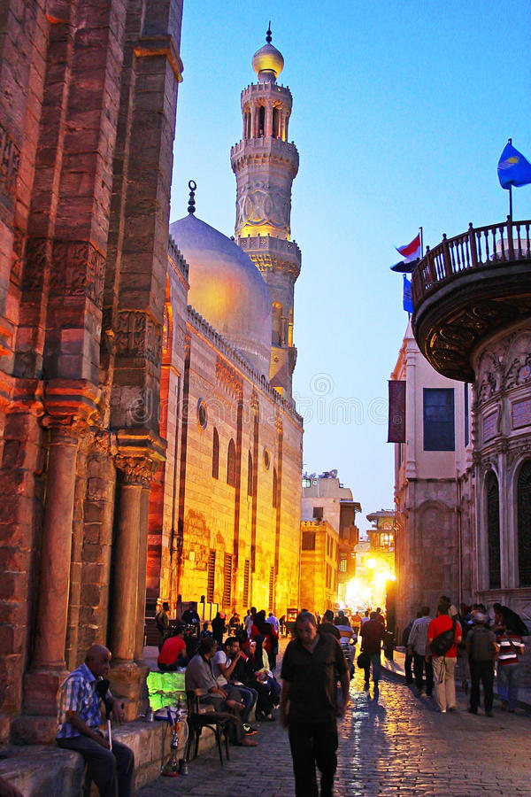 Egypt cairo street view. People walking in historical Moez street in old cairo in egypt stock image