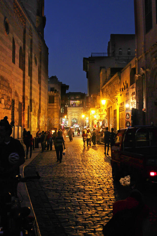 Egypt cairo street view. People walking in historical Moez street in old cairo in egypt royalty free stock photos