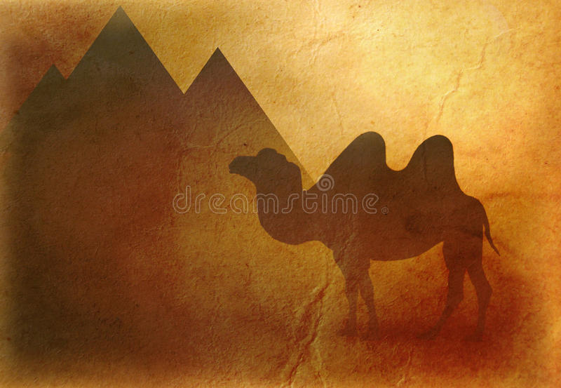 Egypt camel and pyramids background stock illustration